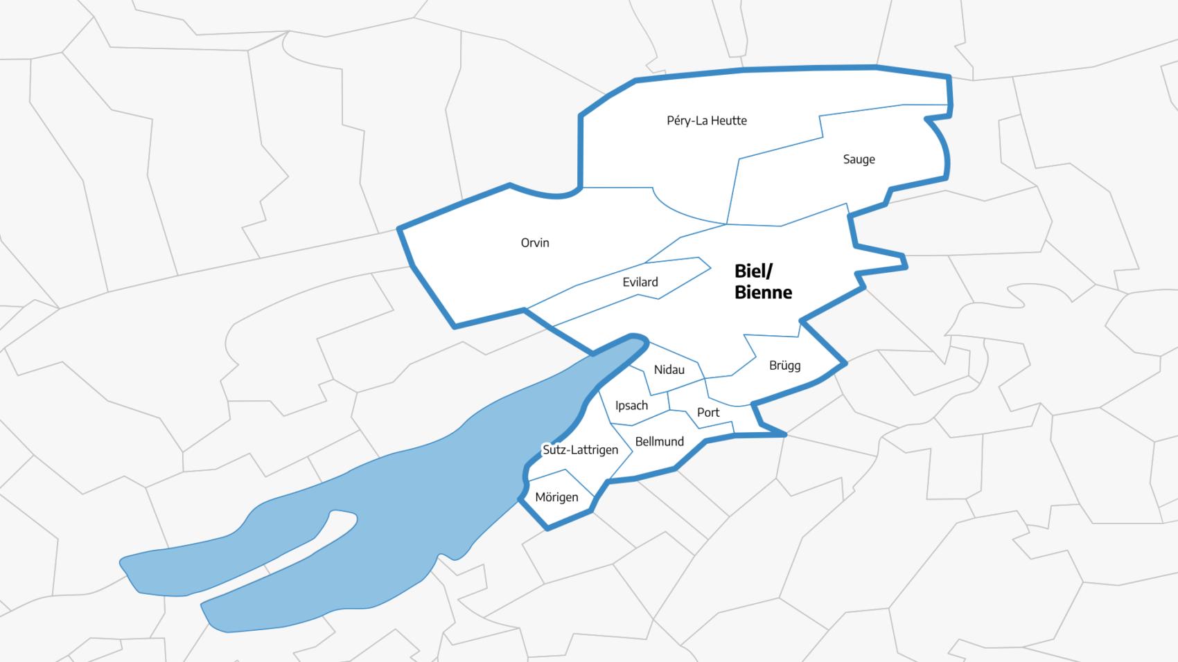 Karte zum Einzugsgebiet der ARA Biel