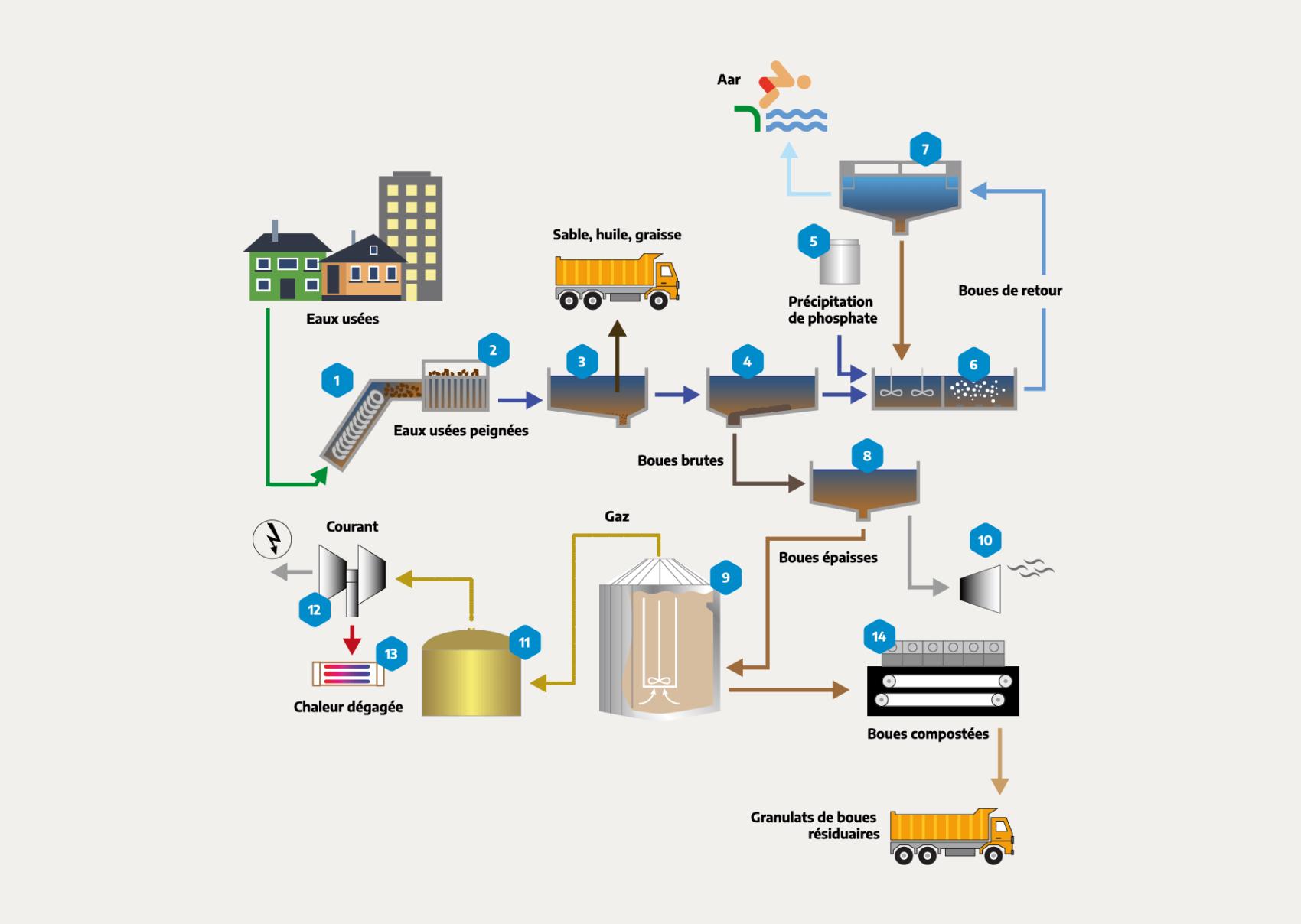 Infographique traitement eaux usees
