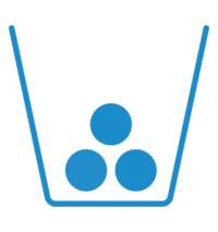 Icon: Blauer Behälter mit drei Kugeln als Abfall
