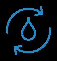 Icon: Wassertropfen und Recycling-Pfeile